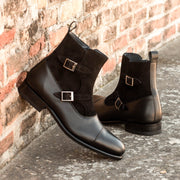 Octavian Buckle Boot-Suede, Box Calf, Black 5