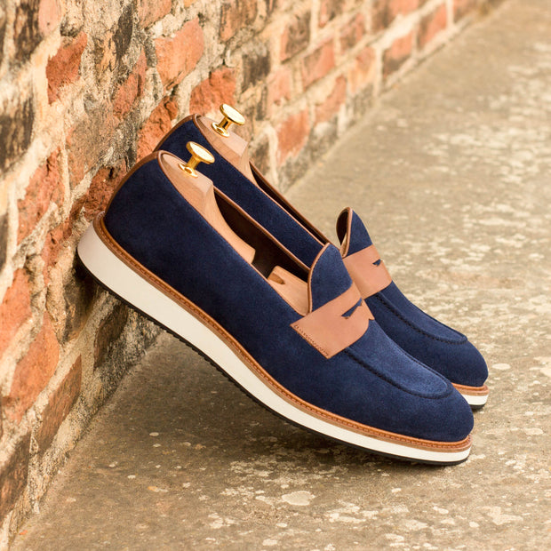 Loafer-Suede, Painted Calf, Blue, Brown 4