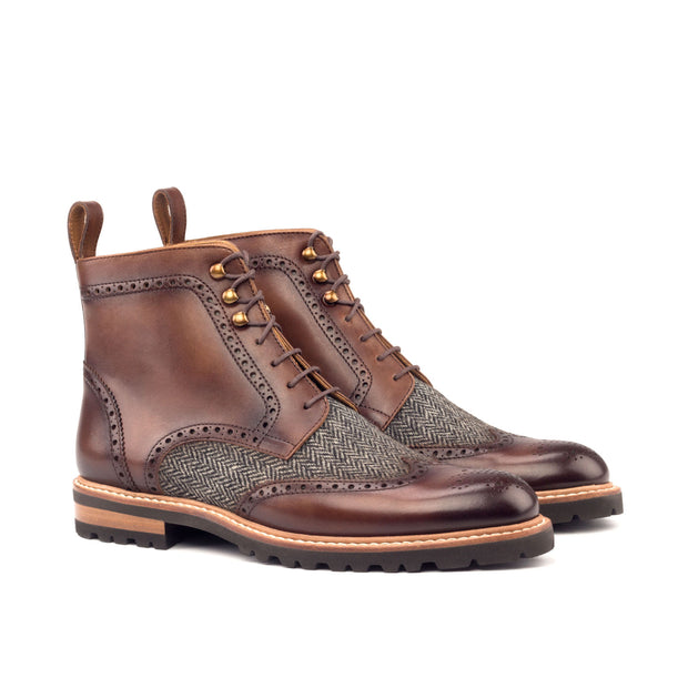 Ladies' Military Brogue-Painted Calf, Sartorial, Brown, Grey 2