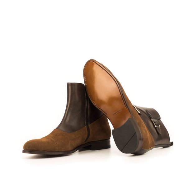 Octavian Buckle Boot-Suede, Box Calf, Brown, Dark Brown 2