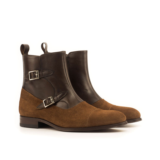 Octavian Buckle Boot-Suede, Box Calf, Brown, Dark Brown 3