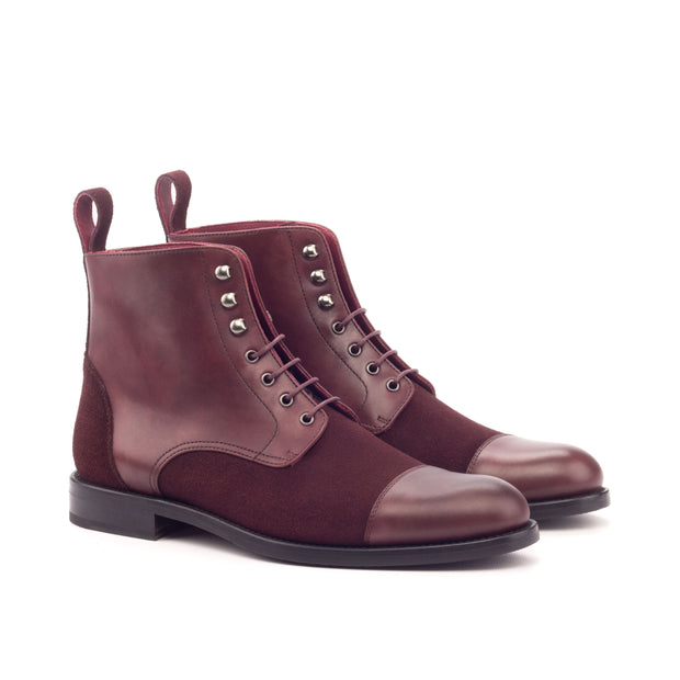 Ladies' Lace Up Captoe Boot-Painted Calf, Lux Suede, Burgundy 2