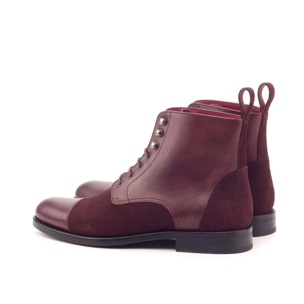 Ladies' Lace Up Captoe Boot-Painted Calf, Lux Suede, Burgundy 3