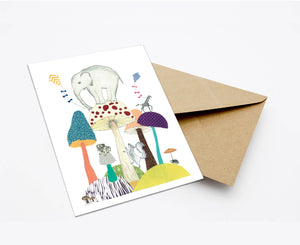 WORLD OF MUSHROOMS POSTCARD WITH ENVELOPE