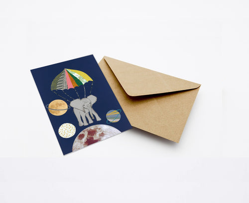 ELEPHANT IN SPACE MINI CARD WITH ENVELOPE