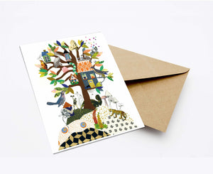 FAMILY TREE POSTCARD WITH ENVELOPE