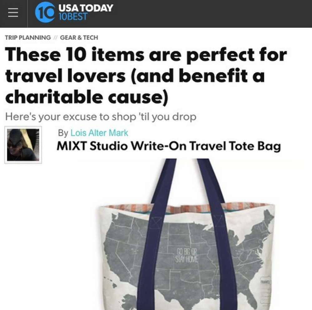 a1dce3f7cc21 Gift Set {Travel Tote Bag US Map Navy Strap + Travel Essentials Tin} $40.00  ($60.00 value)