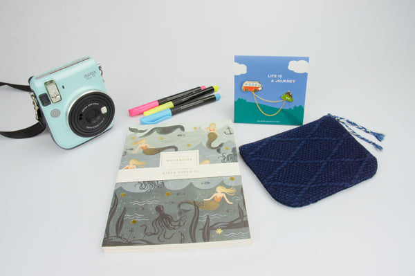 Gift Set {Travel Pouch + Camping Enamel Pin + Rifle Paper Everyday Notebook  Set} $25 00 ($35 00 value)