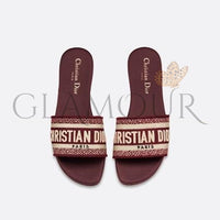 Cd Christian Dior Classic Leisure Womens Embroidered Logos Flats Slippers Sandals Shoes