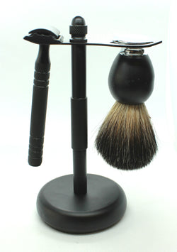 Black Shaving Kit - Safety Razor, Shaving Brush, Shaving Bowl & Stand