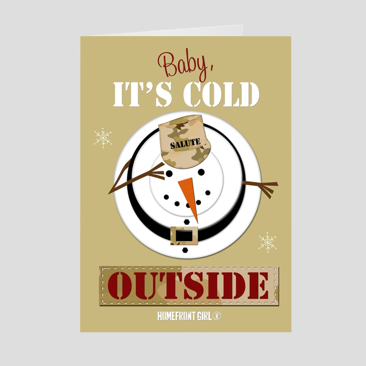 Saluting Snowman Folded Homefront Girl® Holidays Card packs