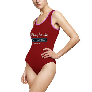 "Red ""Military Spouse I got this"" Women's Classic One-Piece Swimsuit"
