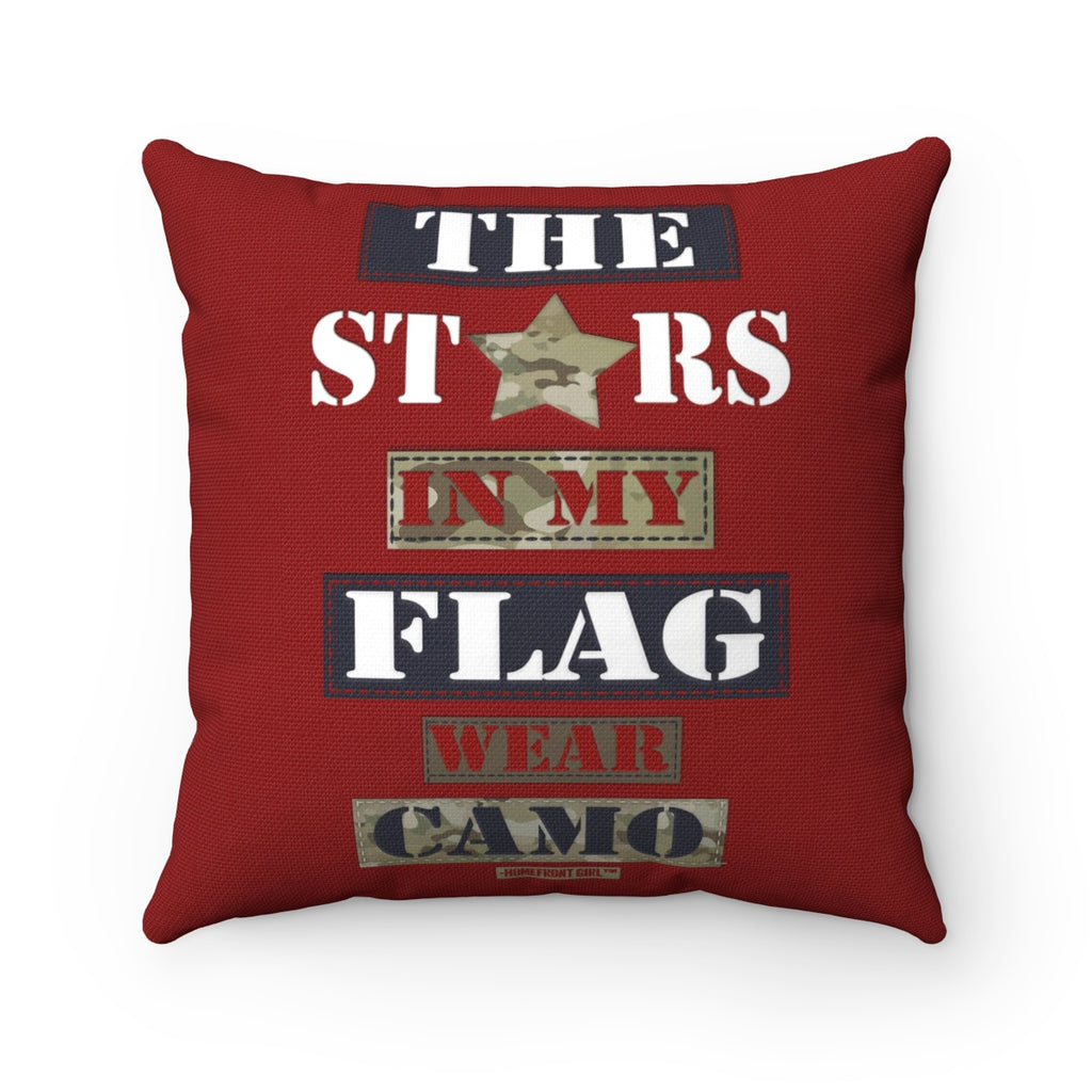 Military Homefront Girl® The Stars in My Flag wear Camo -Spun Polyester Square Pillow - [shop_home]