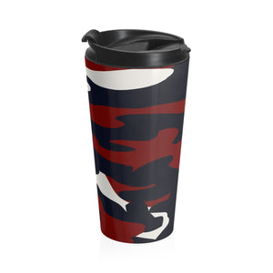 Homefront Girl® Signature Red White and Blue Camo -Stainless Steel Travel Mug