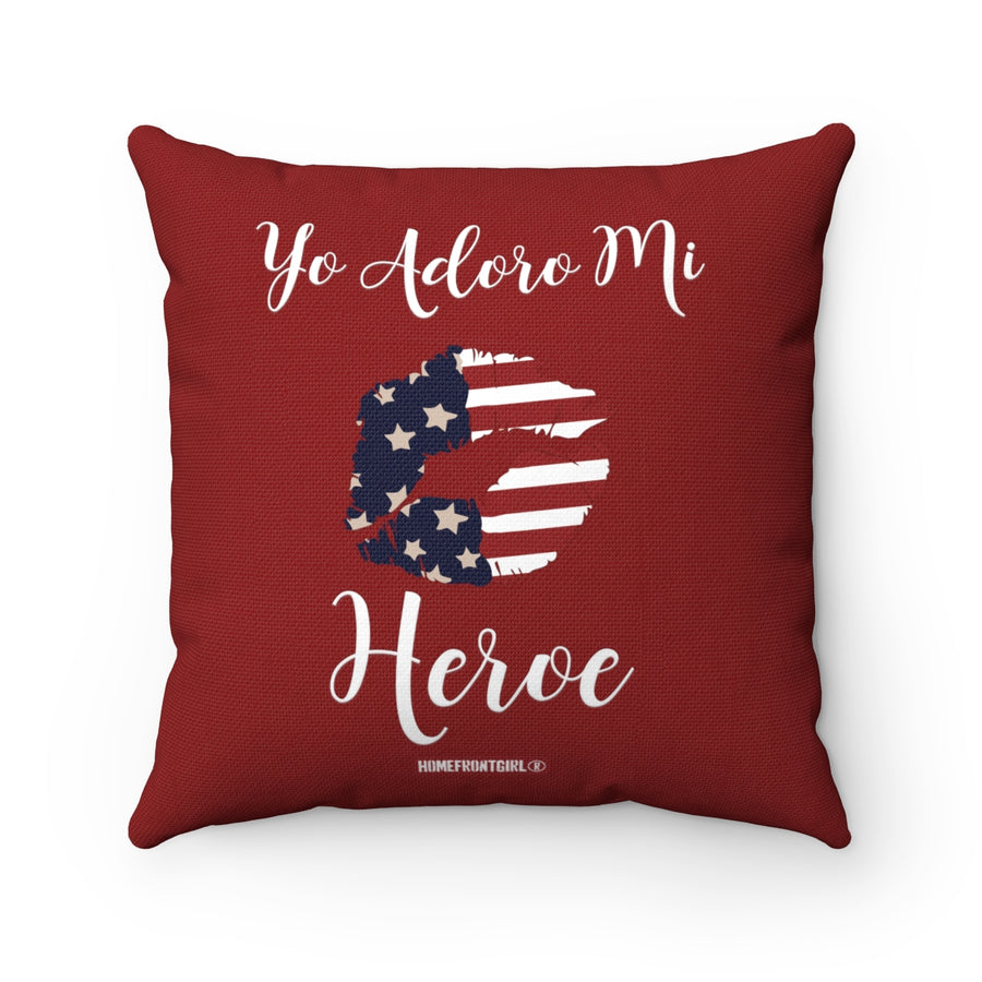 """Yo Adoro Mi Heroe""  - Red Spun Polyester Square Pillow"