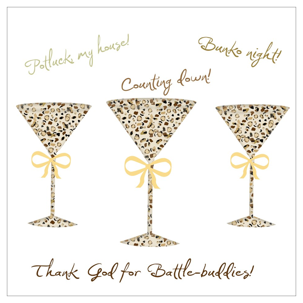 Thank God for Battle Buddies (Martini's, Bunko, Potluck) 5 Flat Boxed Cards - [shop_home]