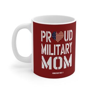 """Proud Military Mom"" Red Mug 11oz - [shop_home]"