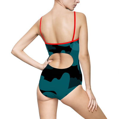 Hot Turquoise/Black Camo -Women's One-piece Swimsuit