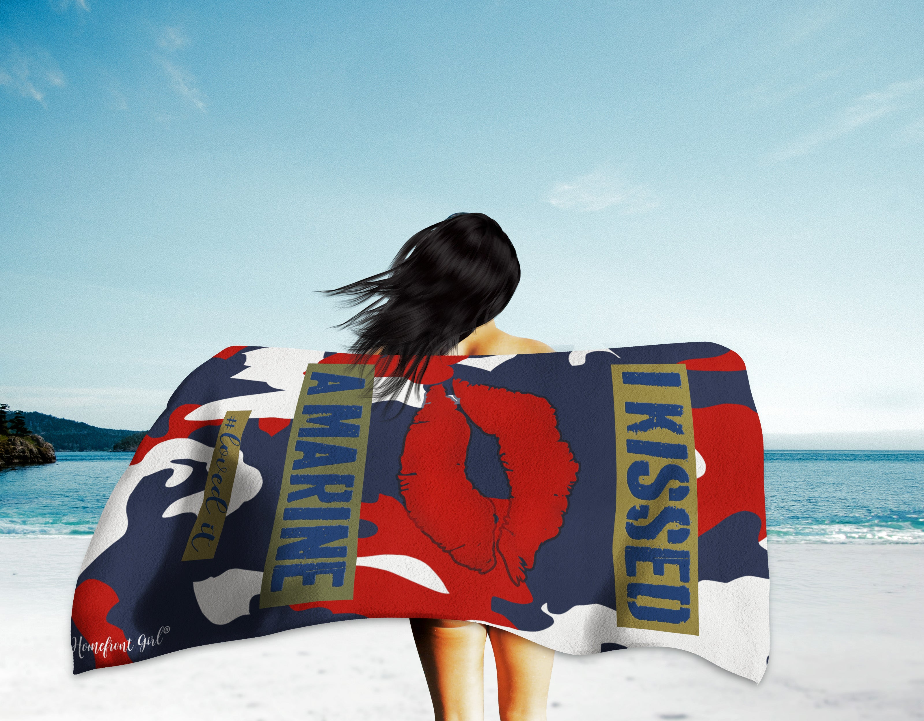 "Homefront Girl® ""I kissed a Marine #LOVED IT - Beach Towel - [shop_home]"