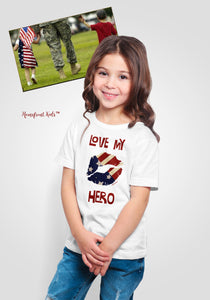 "Homefront Kids™ ""Love my Hero ™""Kids Heavy Cotton™ Tee - [shop_home]"