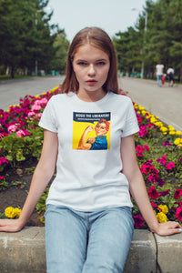 ROSIE THE LIBERATOR-STOP HUMAN TRAFFICKING (Yellow backdrop) -  Unisex Jersey Short Sleeve Tee