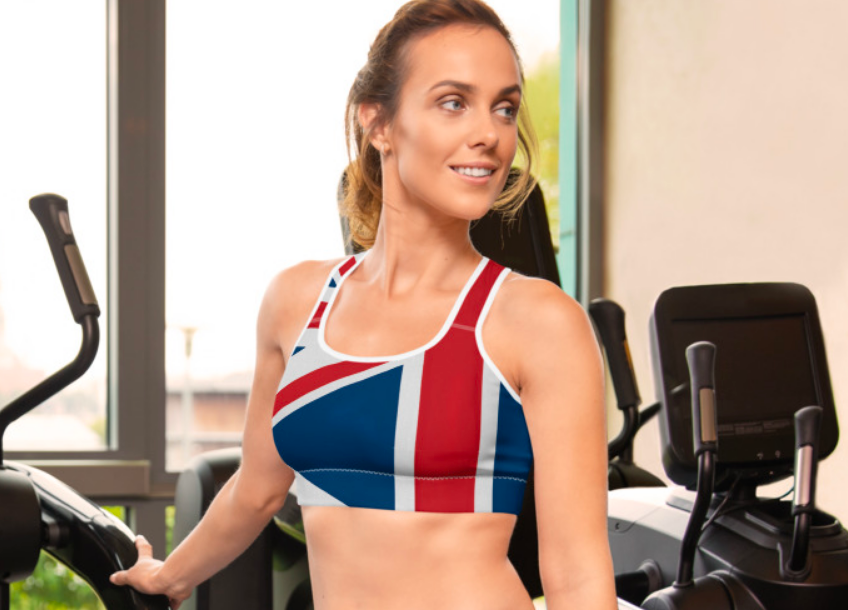 "THe Homefront Girl® UK ""Union Jack"" Padded Sports Bra - [shop_home]"