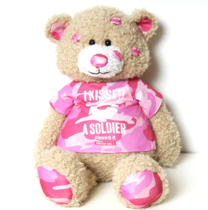 I Kissed a Soldier Pink Signature Bear
