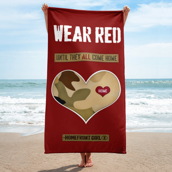 Wear RED ...until they all come home!  Beach Towel