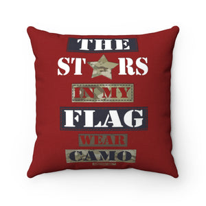 Military Homefront Girl® The Stars in My Flag wear Camo -Spun Polyester Square Pillow