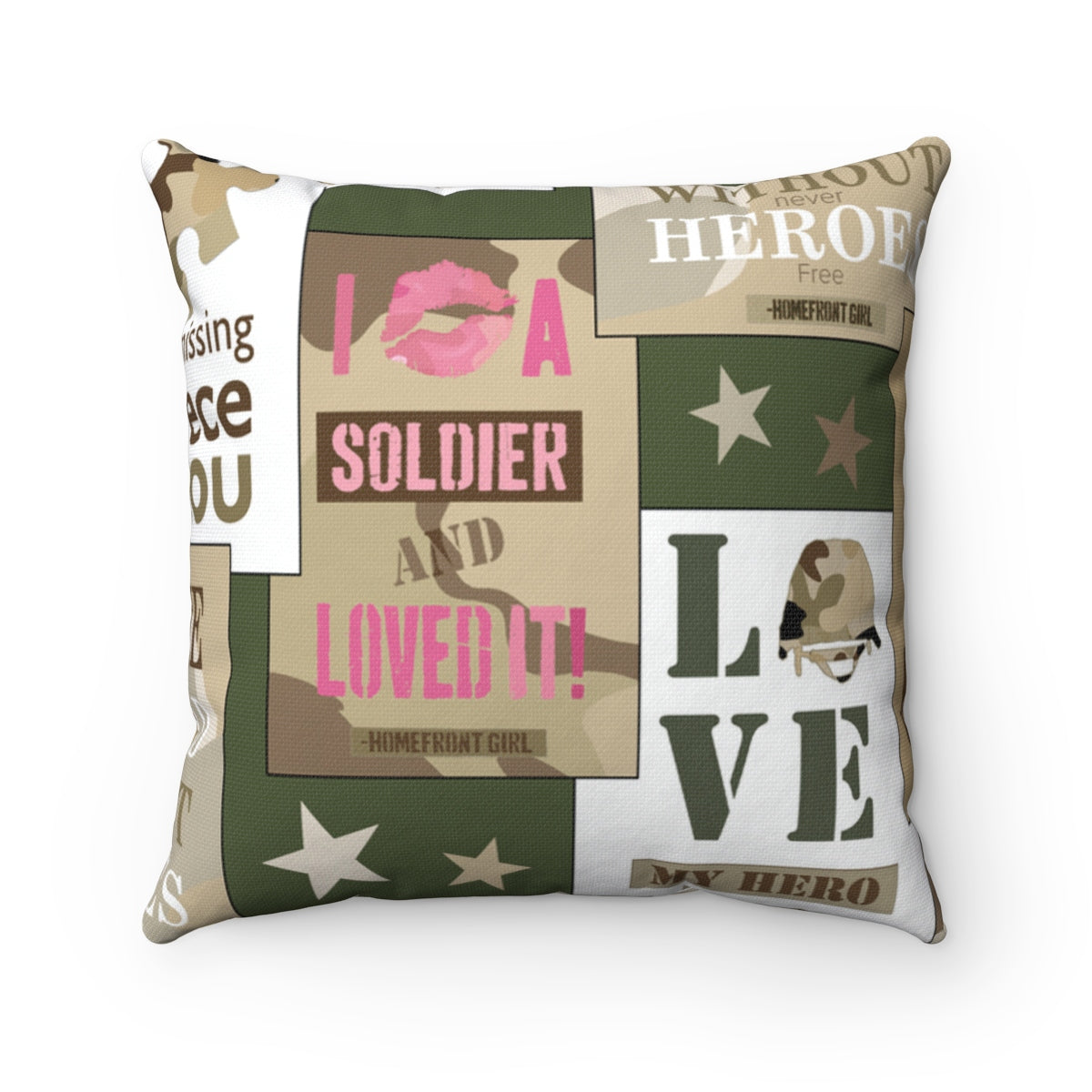 Signature Homefront Girl® HERO Patch design - Spun Polyester Square Pillow - [shop_home]