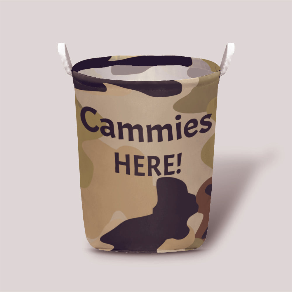 "The Homefront Girl Signature Camo #2 in this adorable Laundry Basket ""Cammies Here!"""