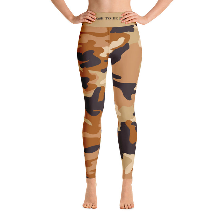 """I choose to be Strong.""  Espresso Camo - Yoga Leggings"