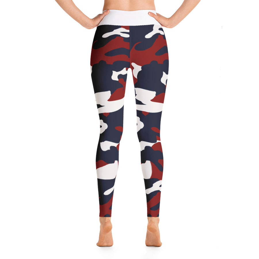 """I Choose to be Strong""  in Homefront Girl® original Red, White and Blue Camo -Yoga Leggings"
