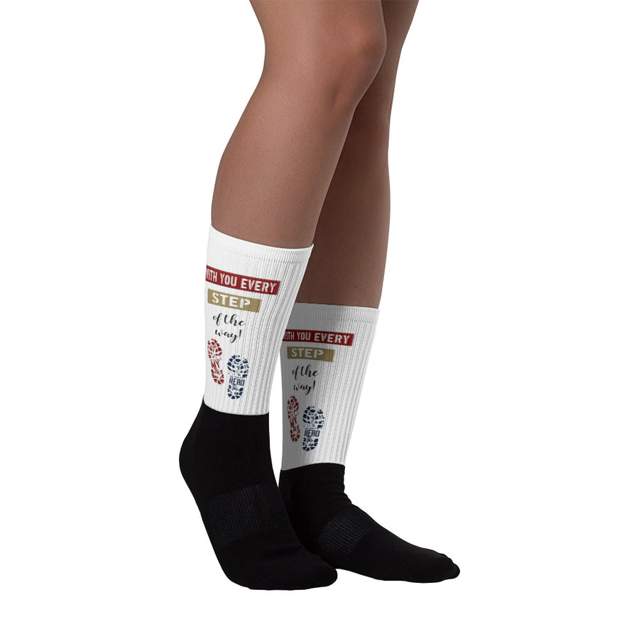"""With you every step of the way™ with combat boot treads- Homefront Girl® Sock collection"