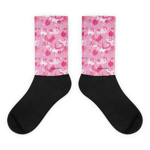 """Pink Camo Hearts in Flight""-The HFG™ With you all the way™ Sock Collection"