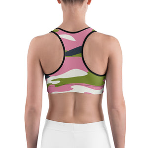"""I Choose to be Strong"" in original Homefront Girl® ""NYC Vibe"" Camo- Sports bra"