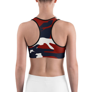 """I Choose to be Strong"" in original Homefront Girl® Red, White and Blue Camo- Sports bra"