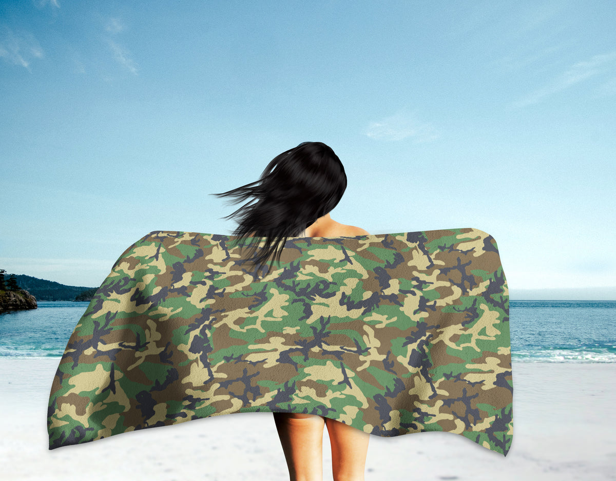 "The Homefront Girl® ""Peak a Boo"" Camo-Beach Towel"