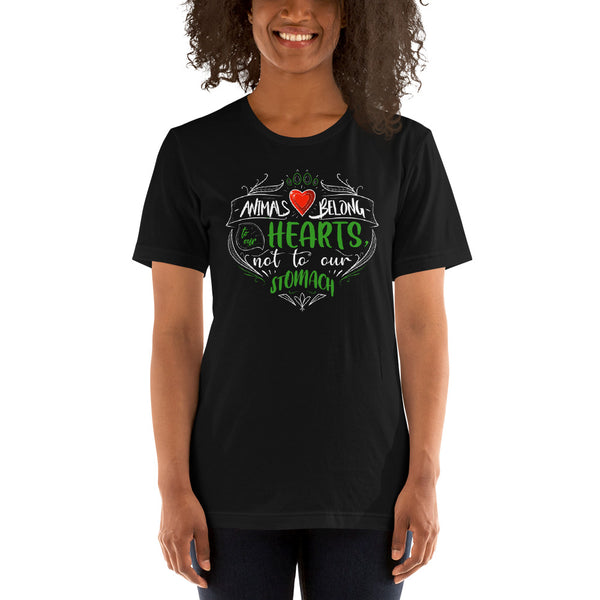 GET IN SHAPE Animals belong to our hearts, not to our stomachs. Vegan Unisex Shirt