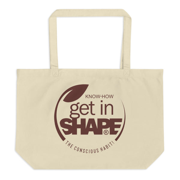GET IN SHAPE The conscious habit! Large organic tote bag