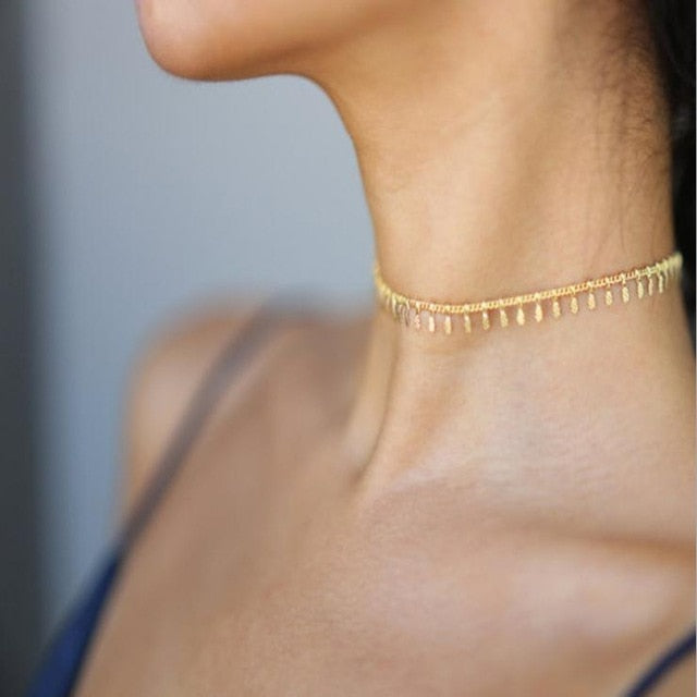 Pearl Bead Chain Choker Necklace