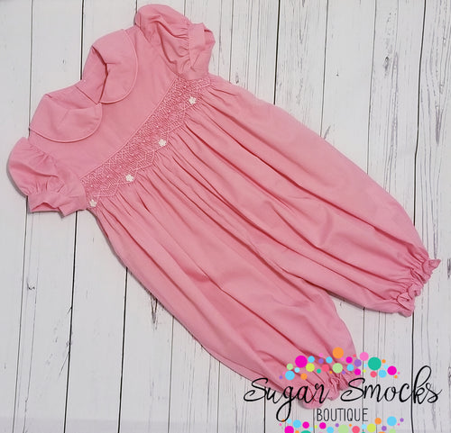 6M Mom & Me Pink Smocked Bubble Longall