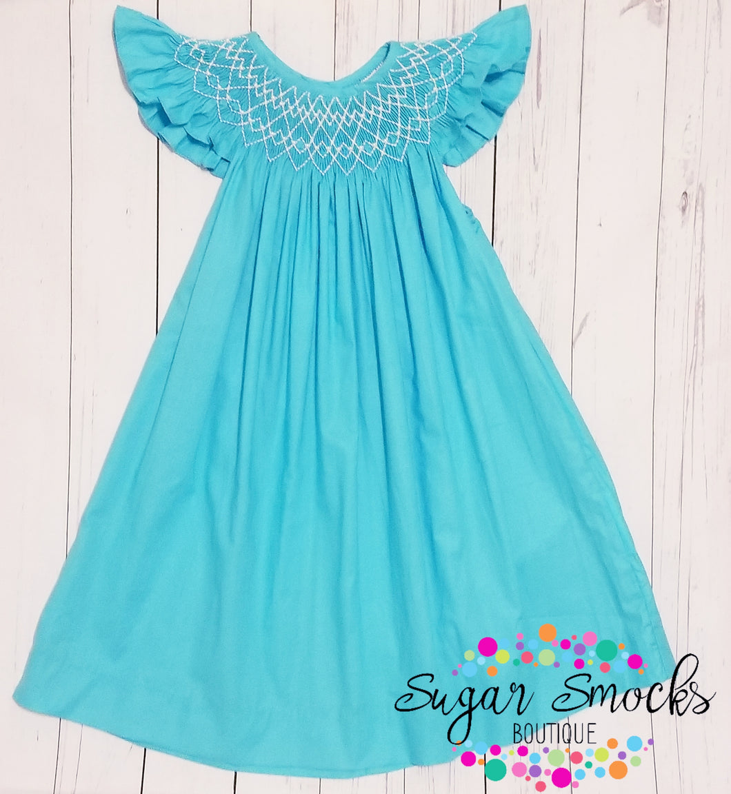 Mom & Me Turquoise Smocked Dress