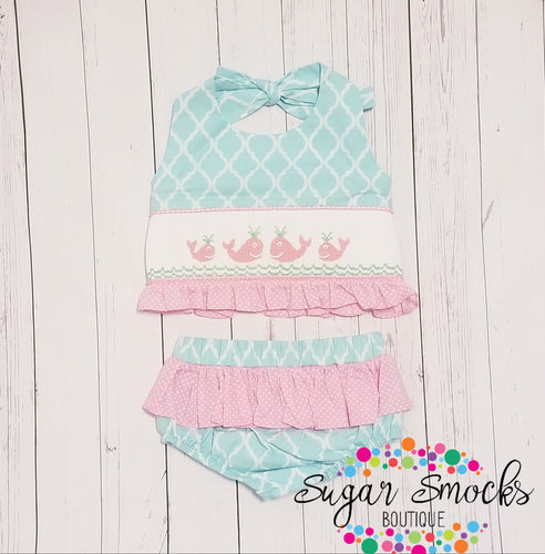 3T Three Sisters Whale Smocked 2pc Swim