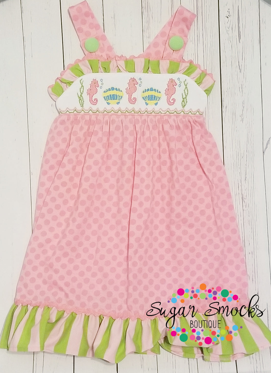 3T Three Sisters Seahorse Smocked Dress