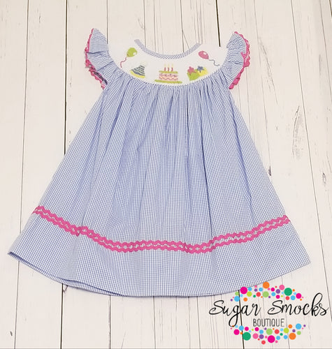 Birthday Smocked Bishop Dress