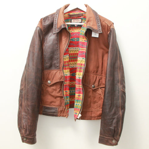 BONAVENTURE NAVAJO LINED LEATHER JACKET L