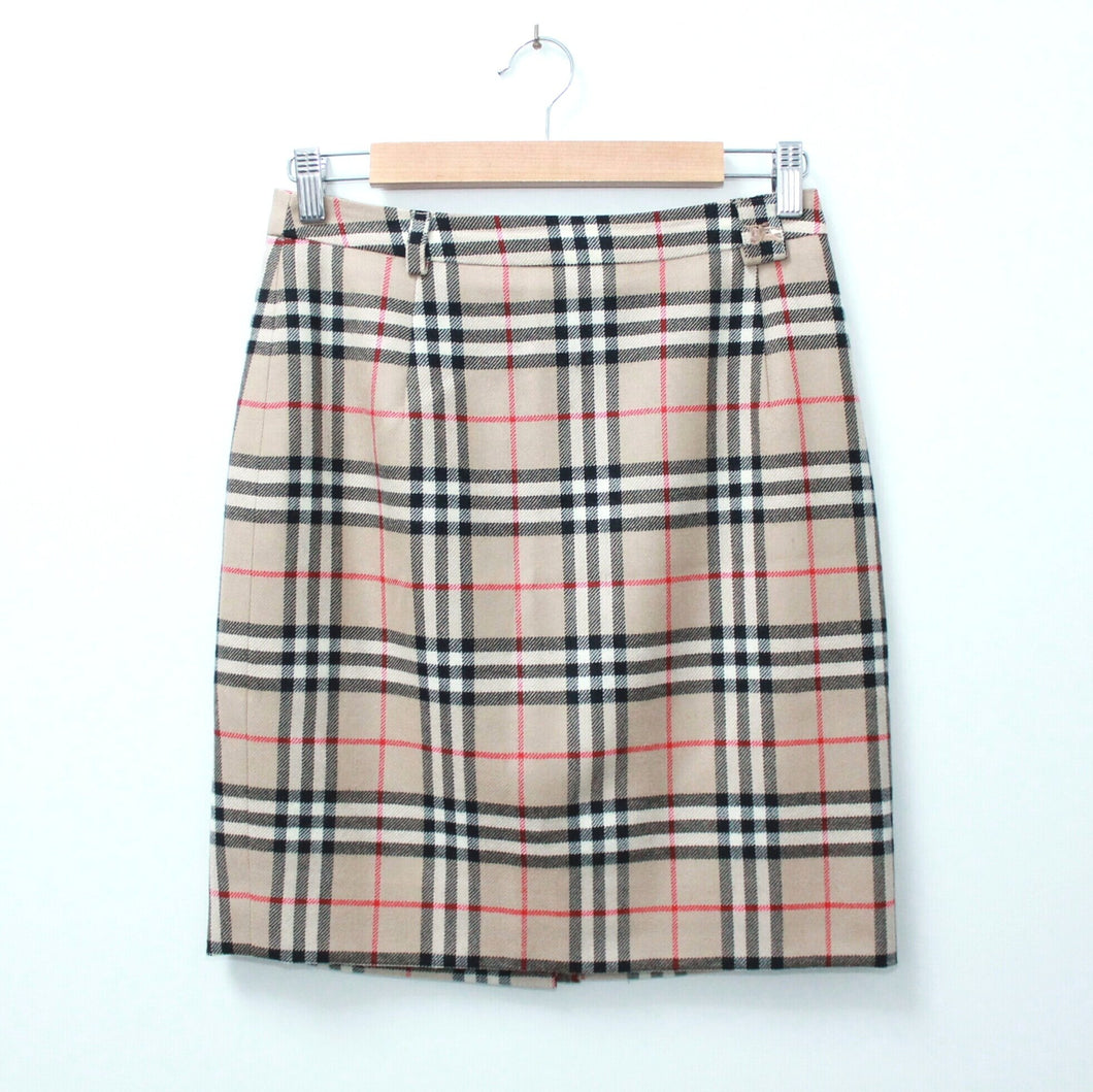 VINTAGE BURBERRY®️ CHECK WOOL SKIRT 36