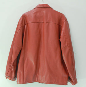 80s NAF NAF LEATHER COACH JACKET L