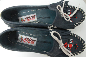 80s APACHE NAVY NATIVE LOAFERS 37